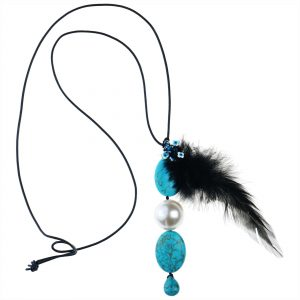 HOWLITE & FEATHER NECKLACE