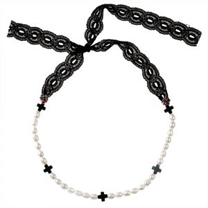 PEARLS & CROSSES CHOKER NECKLACE