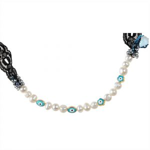 PEARLS & EVIL EYES NECKLACE