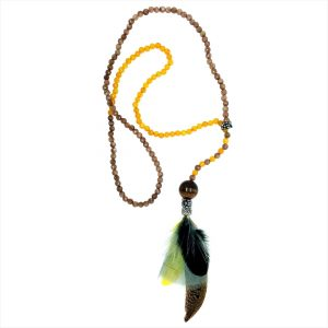 YELLOW & BEIGE AGATE NECKLACE WITH FEATHER