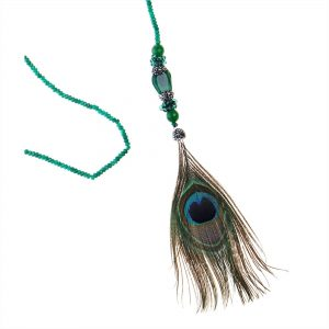 CAT EYE & PEACOCK FEATHER NECKLACE