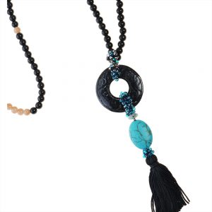 BLACK ONYX & BEIGE AGATE NECKLACE