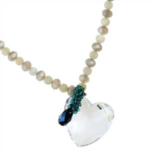 CRYSTAL HEART & AGATE NECKLACE