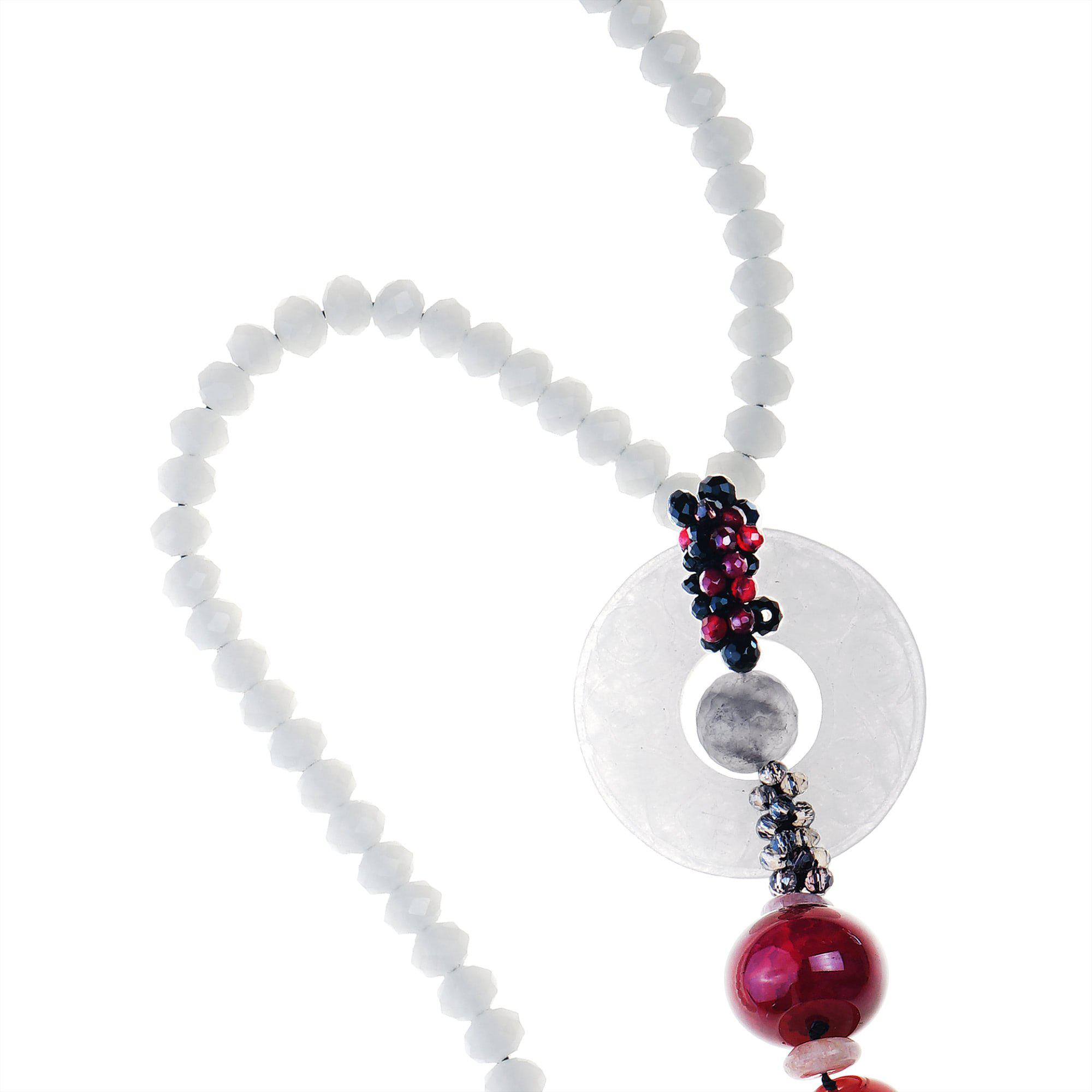 WHITE ONYX & RED TASSEL NECKLACE 5