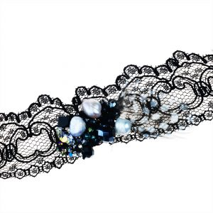 BLACK LACE CHOKER WITH PEARLS & FEATHER