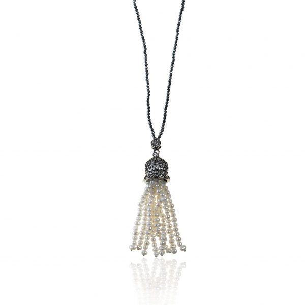HEMATITE NECKLACE WITH PEARLS 2