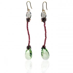 GARNET & CRYSTALS EARRINGS