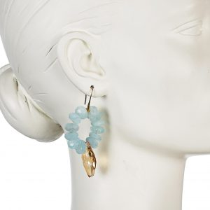 AQUAMARINE HOOP EARRINGS