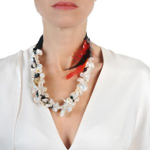 KESHI PEARLS NECKLACE WITH FEATHER& LACE