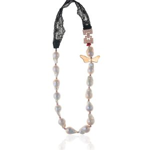 BAROQUE PEARL NECKLACE WITH LACE